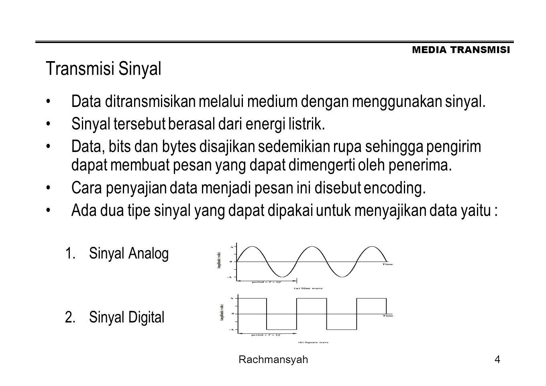 MEDIA TRANSMISI Rachmansyah4 Transmisi Sinyal Data ditransmisikan melalui medium dengan menggunakan sinyal. Sinyal tersebut berasal dari energi listri