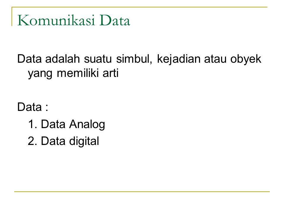 Komunikasi Data Data adalah suatu simbul, kejadian atau obyek yang memiliki arti Data : 1. Data Analog 2. Data digital