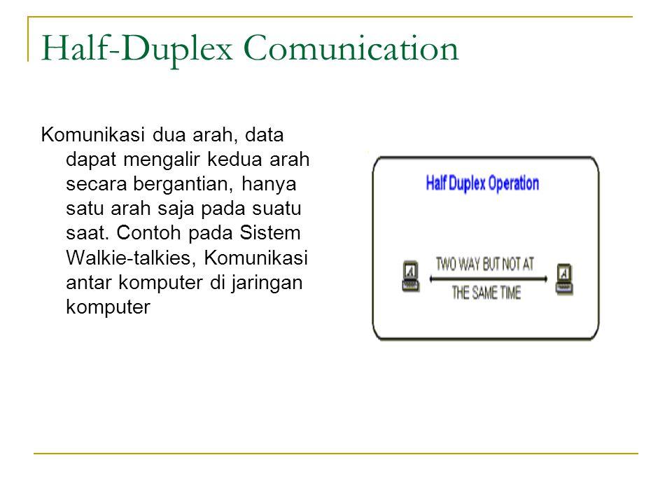 Half-Duplex Comunication Komunikasi dua arah, data dapat mengalir kedua arah secara bergantian, hanya satu arah saja pada suatu saat. Contoh pada Sist