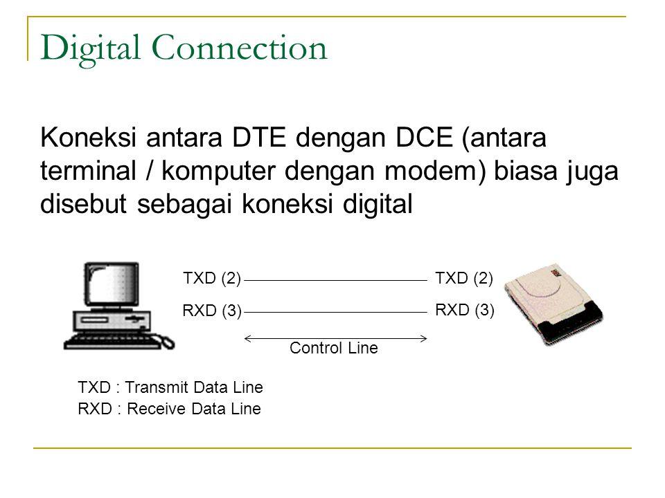 Digital Connection Koneksi antara DTE dengan DCE (antara terminal / komputer dengan modem) biasa juga disebut sebagai koneksi digital TXD (2) RXD (3)
