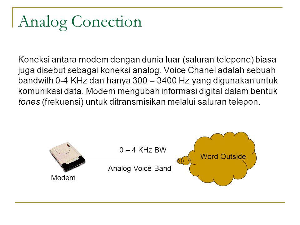 Analog Conection Koneksi antara modem dengan dunia luar (saluran telepone) biasa juga disebut sebagai koneksi analog. Voice Chanel adalah sebuah bandw