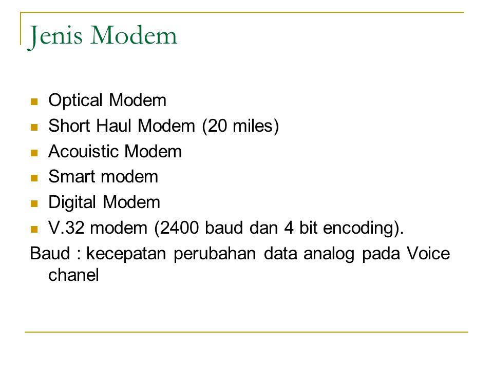 Jenis Modem Optical Modem Short Haul Modem (20 miles) Acouistic Modem Smart modem Digital Modem V.32 modem (2400 baud dan 4 bit encoding). Baud : kece