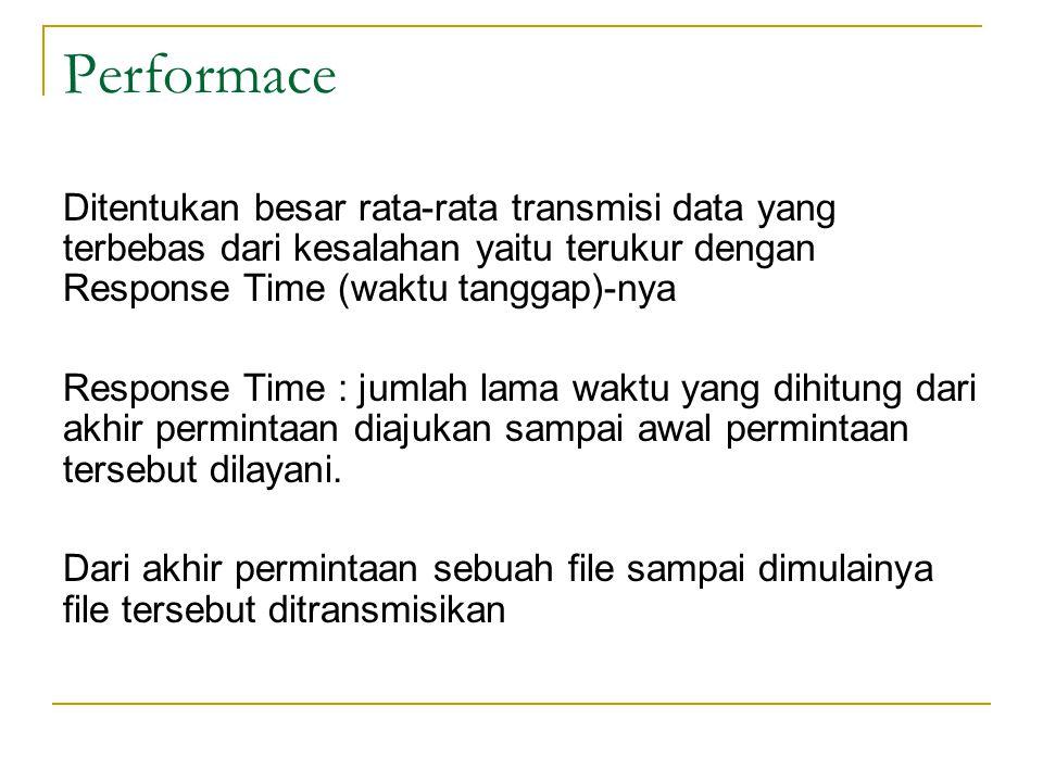 Performace Ditentukan besar rata-rata transmisi data yang terbebas dari kesalahan yaitu terukur dengan Response Time (waktu tanggap)-nya Response Time