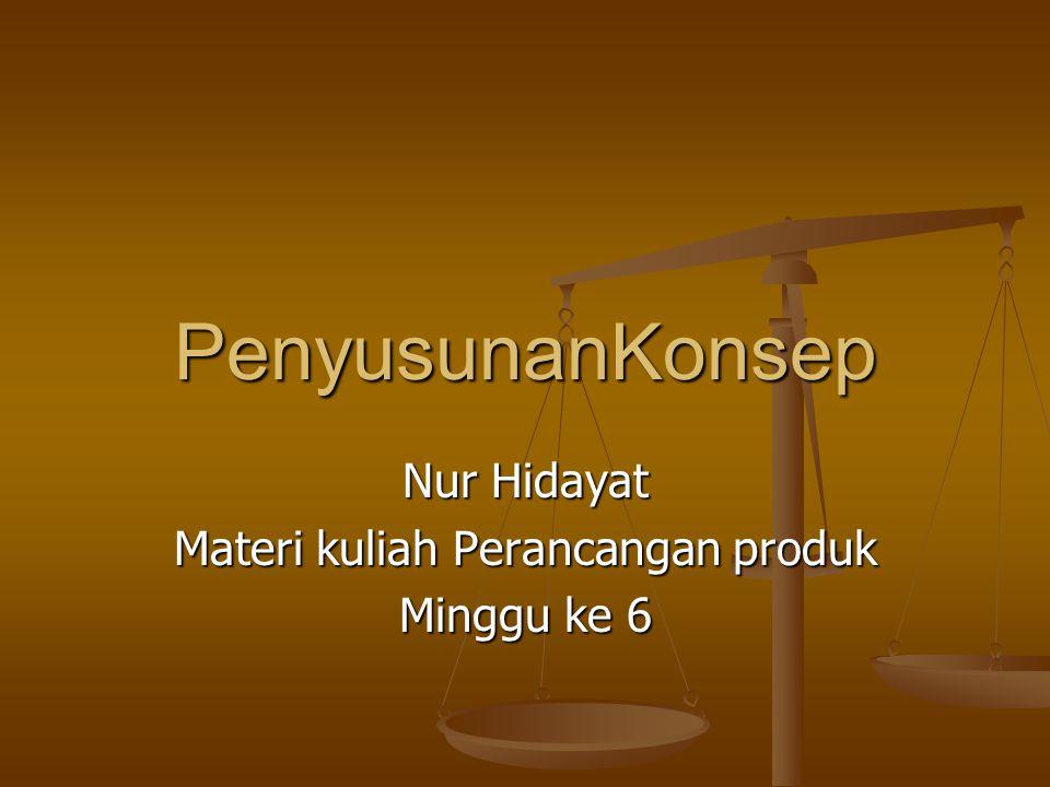 PenyusunanKonsep Nur Hidayat Materi kuliah Perancangan produk Minggu ke 6