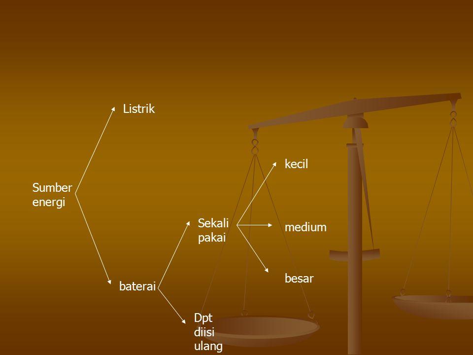 Sumber energi Listrik baterai Sekali pakai Dpt diisi ulang kecil medium besar