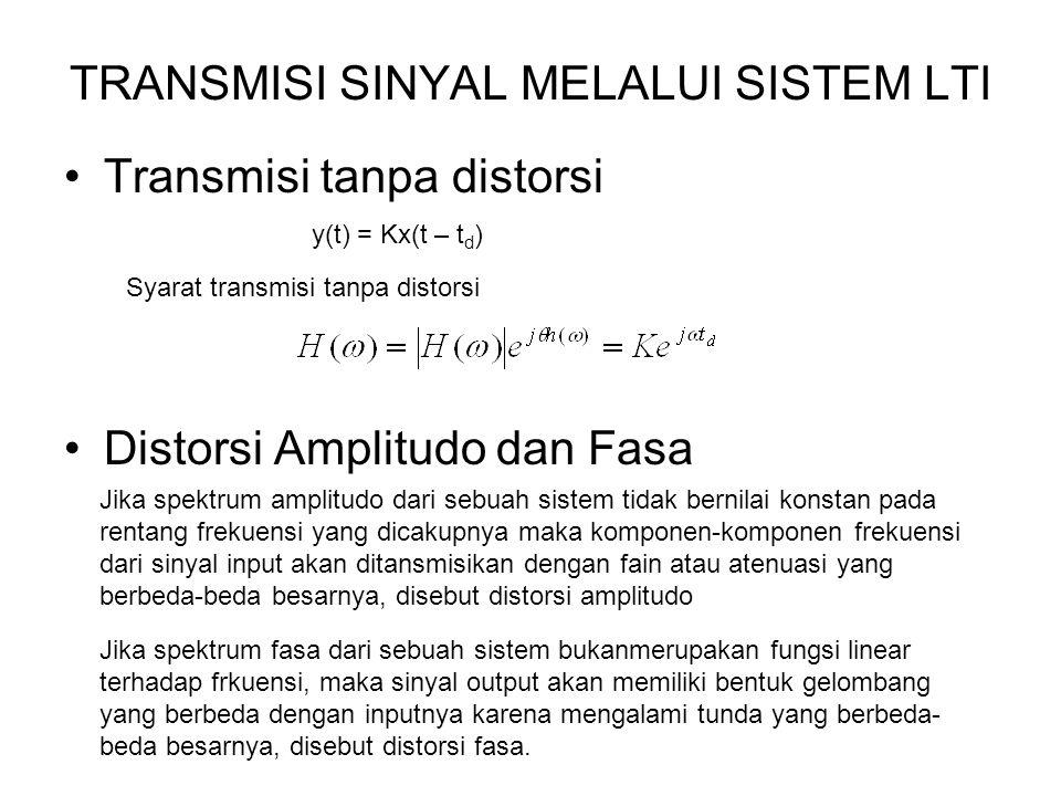 TRANSMISI SINYAL MELALUI SISTEM LTI Transmisi tanpa distorsi Distorsi Amplitudo dan Fasa Jika spektrum amplitudo dari sebuah sistem tidak bernilai kon