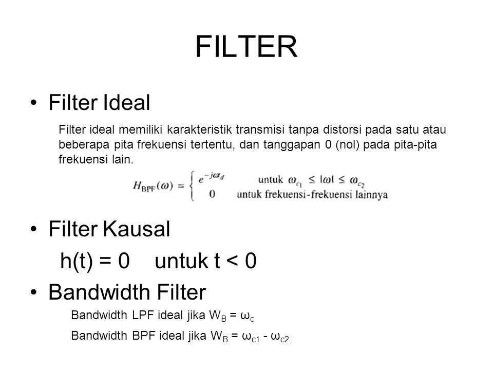 FILTER Filter Ideal Filter Kausal h(t) = 0 untuk t < 0 Bandwidth Filter Bandwidth LPF ideal jika W B = ω c Bandwidth BPF ideal jika W B = ω c1 - ω c2