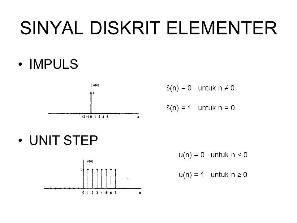 SINYAL DISKRIT ELEMENTER IMPULS UNIT STEP  (n) = 0 untuk n ≠ 0  (n) = 1 untuk n = 0 u(n) = 0 untuk n < 0 u(n) = 1 untuk n ≥ 0