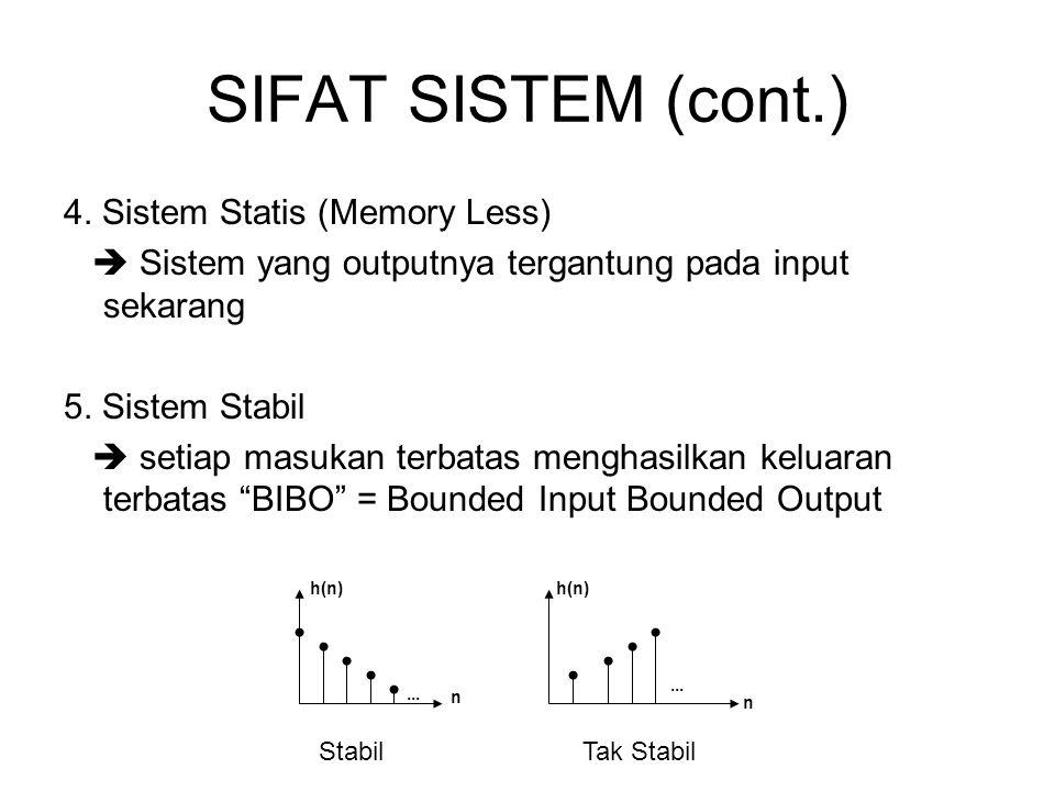 SIFAT SISTEM (cont.) 4. Sistem Statis (Memory Less)  Sistem yang outputnya tergantung pada input sekarang 5. Sistem Stabil  setiap masukan terbatas