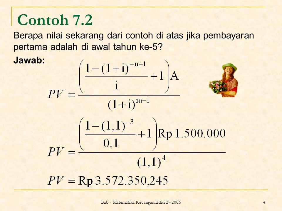 Bab 7 Matematika Keuangan Edisi 2 - 2006 5 ANUITAS BERTUMBUH (GROWING ANNUITY) Bila besar pembayaran atau penerimaan setiap periode tidak sama, tetapi tumbuh dan berkembang dengan tingkat pertumbuhan g yang sama selama periode-periode tertentu, maka : dengan i > g, dan : i=tingkat bunga diskonto (tingkat bunga relevan) g=tingkat pertumbuhan n= jumlah periode A 0 =besar pembayaran atau penerimaan hari ini A 1 =besar pembayaran atau penerimaan 1 periode lagi