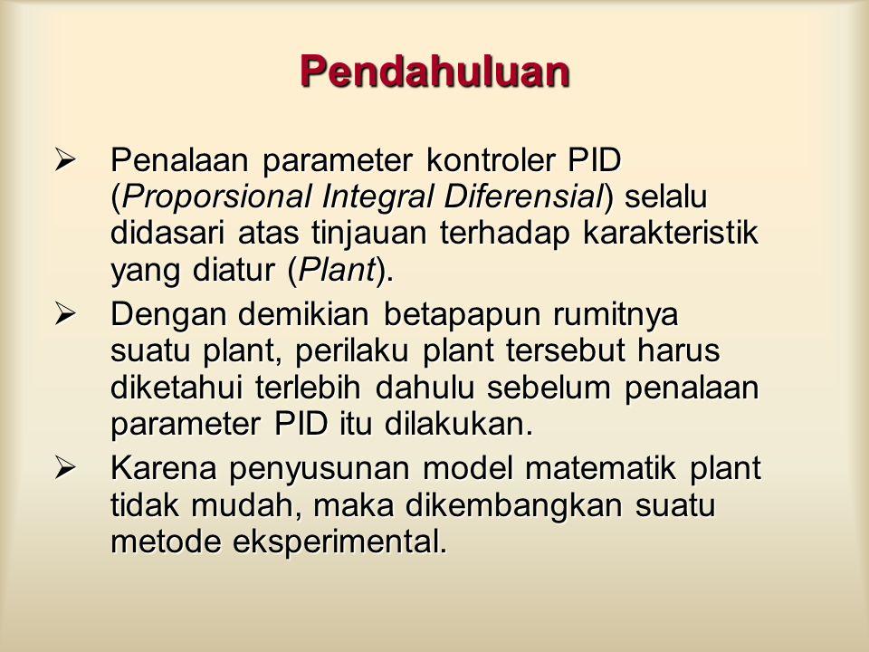 Penalaan Paramater Kontroler PID Penalaan parameter kontroller PID selalu didasari atas tinjauan terhadap karakteristik yang diatur (Plant).