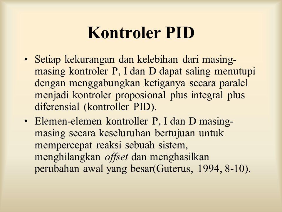Kontroler PID Setiap kekurangan dan kelebihan dari masing- masing kontroler P, I dan D dapat saling menutupi dengan menggabungkan ketiganya secara par