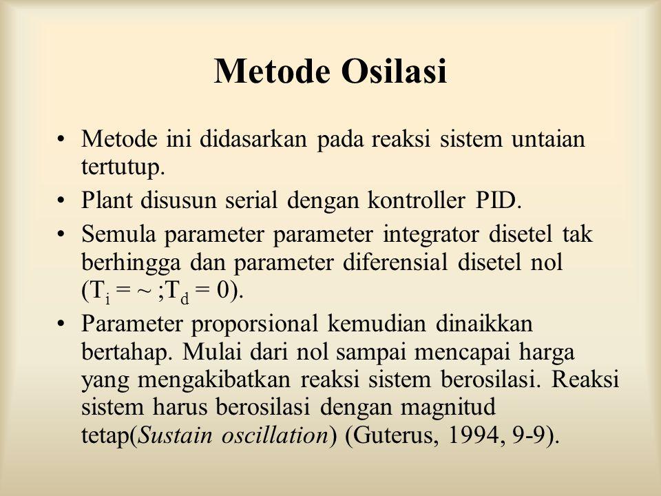 Metode Osilasi Metode ini didasarkan pada reaksi sistem untaian tertutup. Plant disusun serial dengan kontroller PID. Semula parameter parameter integ