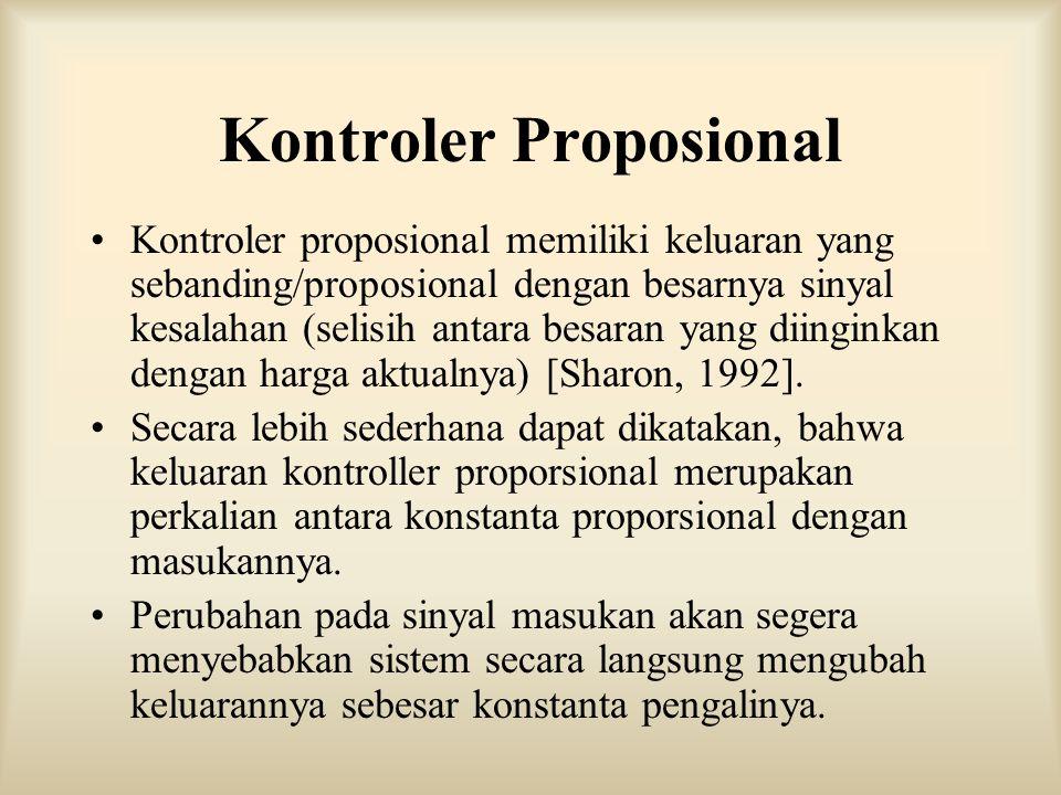 Kontroler Proposional Kontroler proposional memiliki keluaran yang sebanding/proposional dengan besarnya sinyal kesalahan (selisih antara besaran yang