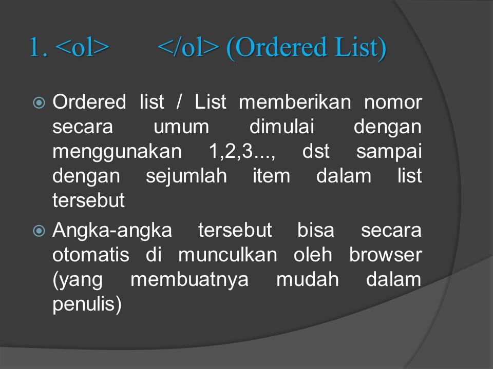 1. (Ordered List)  Ordered list / List memberikan nomor secara umum dimulai dengan menggunakan 1,2,3..., dst sampai dengan sejumlah item dalam list t