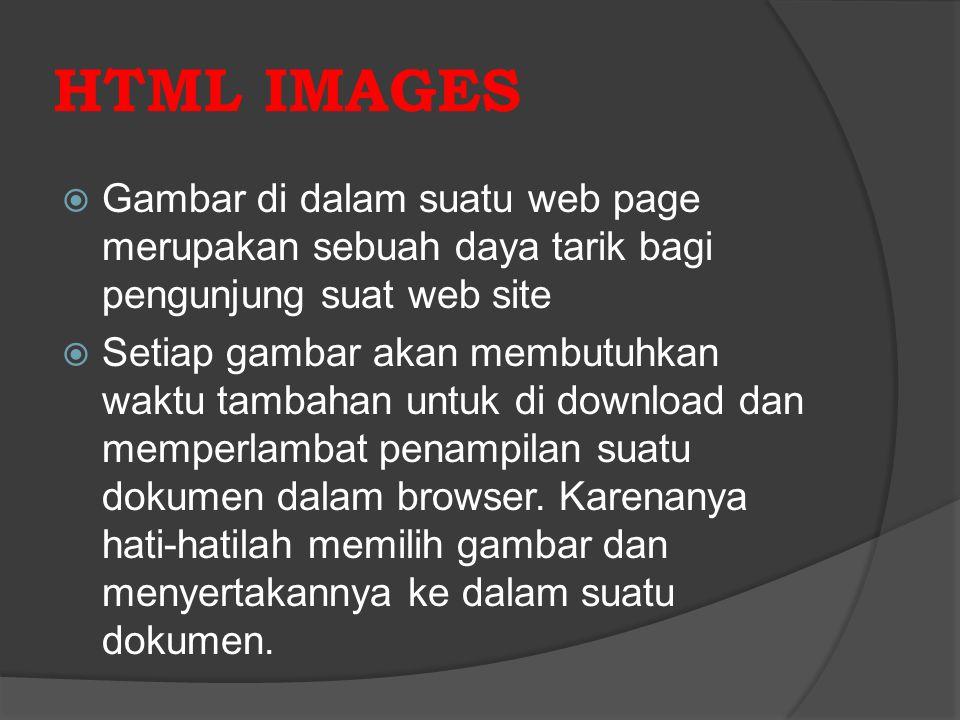 HTML IMAGES  Gambar di dalam suatu web page merupakan sebuah daya tarik bagi pengunjung suat web site  Setiap gambar akan membutuhkan waktu tambahan