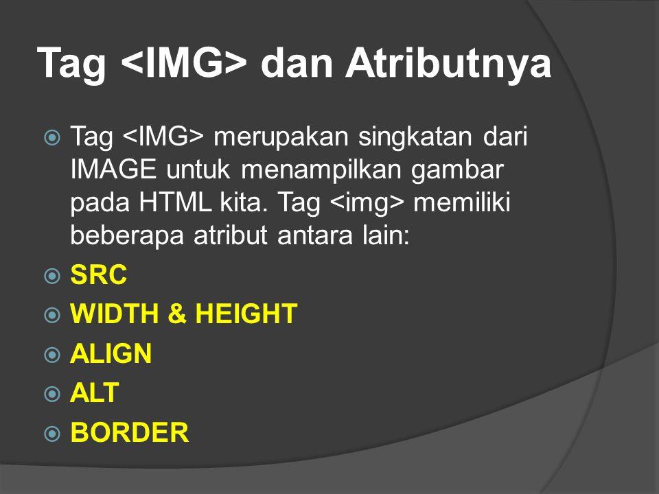 Tag dan Atributnya  Tag merupakan singkatan dari IMAGE untuk menampilkan gambar pada HTML kita. Tag memiliki beberapa atribut antara lain:  SRC  WI