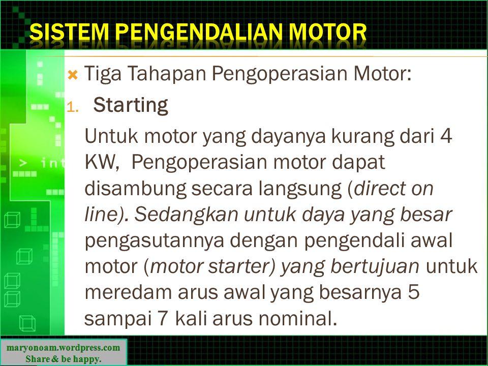  Tiga Tahapan Pengoperasian Motor: 1. Starting Untuk motor yang dayanya kurang dari 4 KW, Pengoperasian motor dapat disambung secara langsung (direct