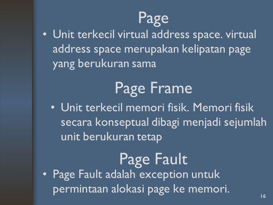 Page Unit terkecil virtual address space.