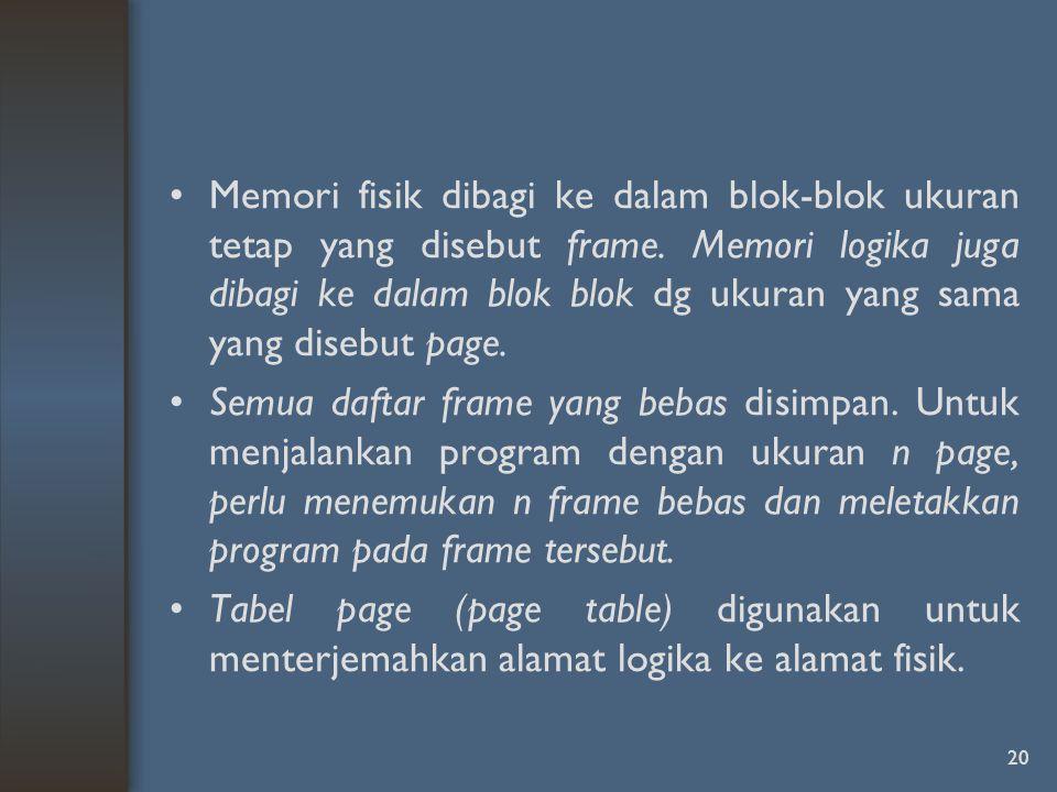 Memori fisik dibagi ke dalam blok-blok ukuran tetap yang disebut frame.