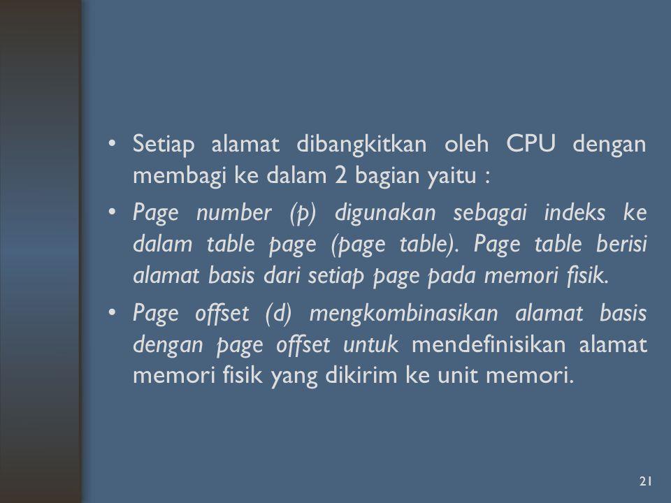 Setiap alamat dibangkitkan oleh CPU dengan membagi ke dalam 2 bagian yaitu : Page number (p) digunakan sebagai indeks ke dalam table page (page table).