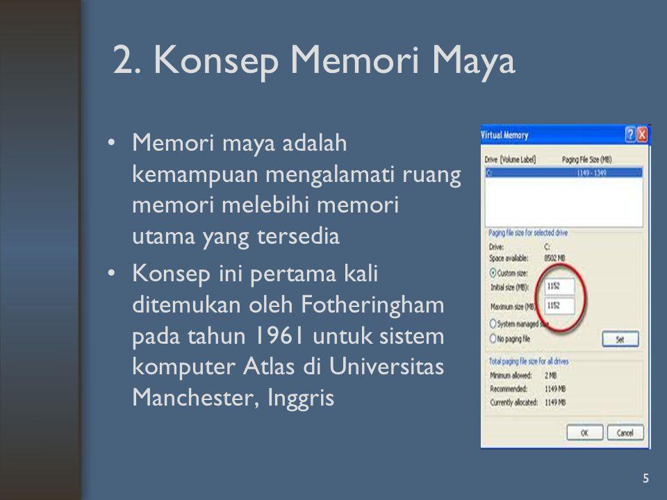 6 Gagasan memori maya adalah ukuran gabungan program, data dan stack melampaui jumlah memori fisik yang tersedia.