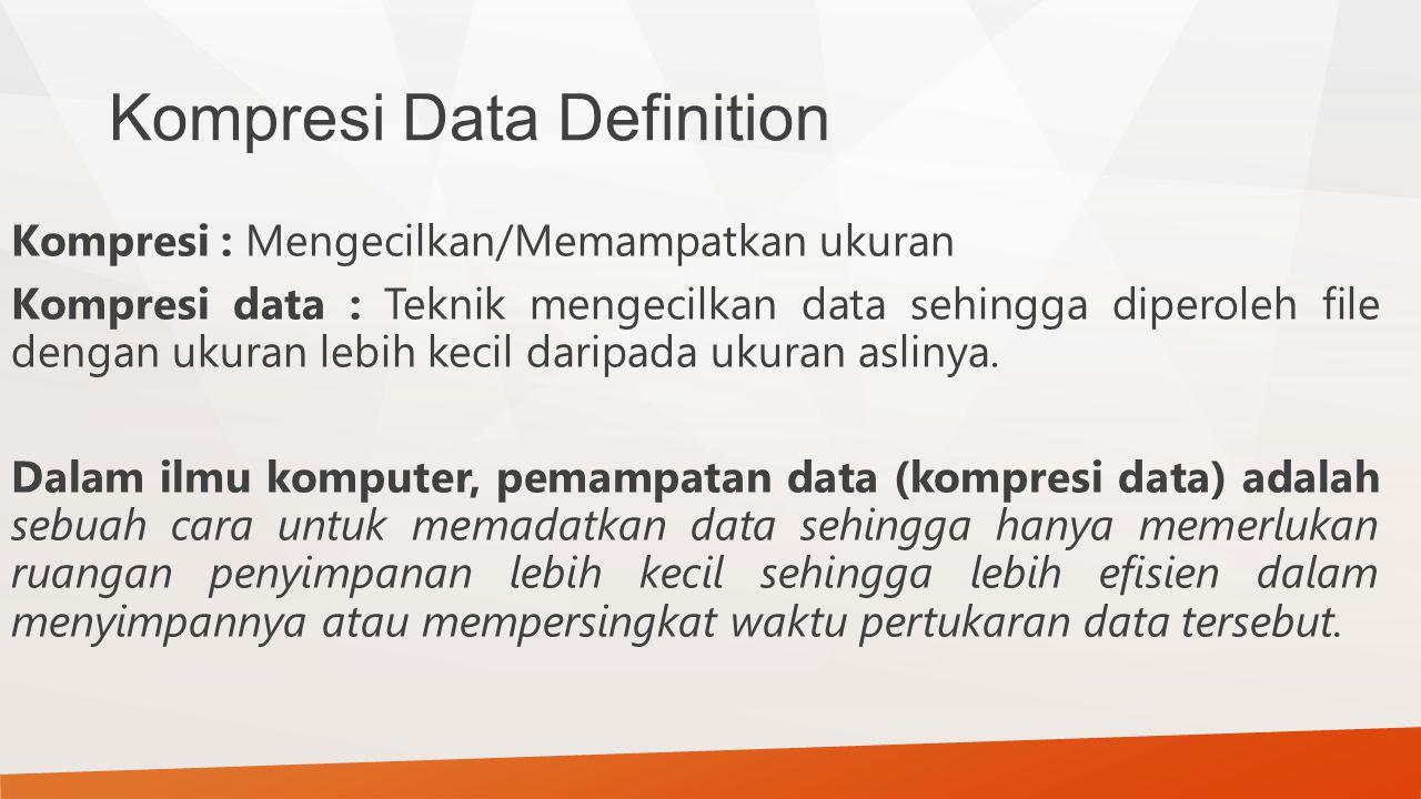 Kompresi Data Definition Kompresi : Mengecilkan/Memampatkan ukuran Kompresi data : Teknik mengecilkan data sehingga diperoleh file dengan ukuran lebih