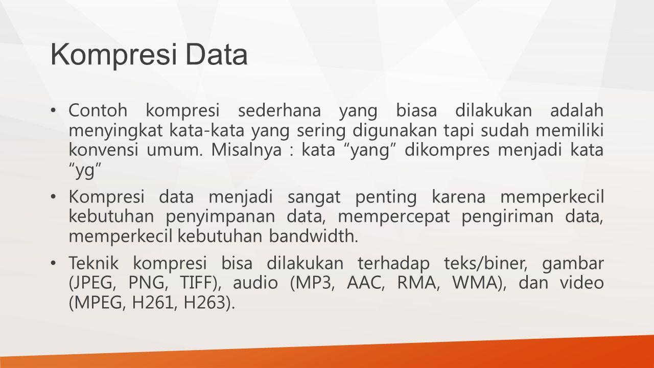 Kompresi Data Contoh kompresi sederhana yang biasa dilakukan adalah menyingkat kata-kata yang sering digunakan tapi sudah memiliki konvensi umum. Misa