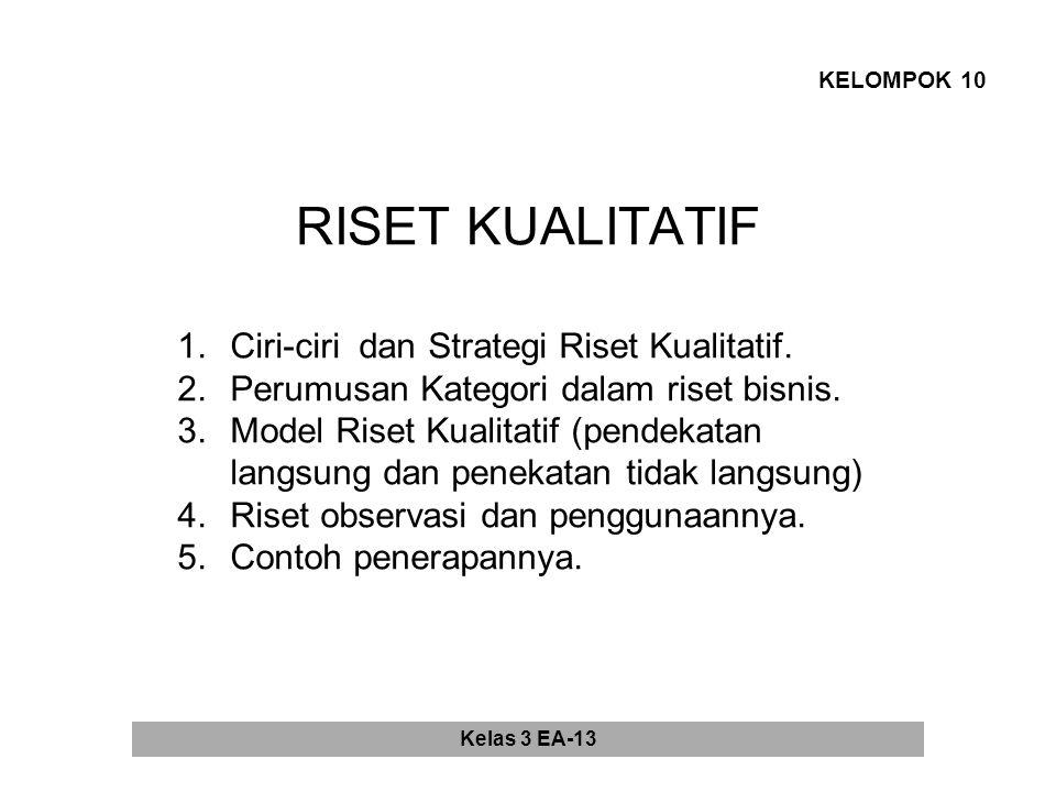 RISET KUALITATIF KELOMPOK 10 1.Ciri-ciri dan Strategi Riset Kualitatif.