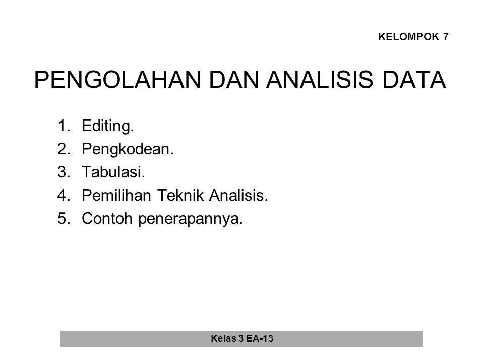 PENGOLAHAN DAN ANALISIS DATA 1.Editing.2.Pengkodean.