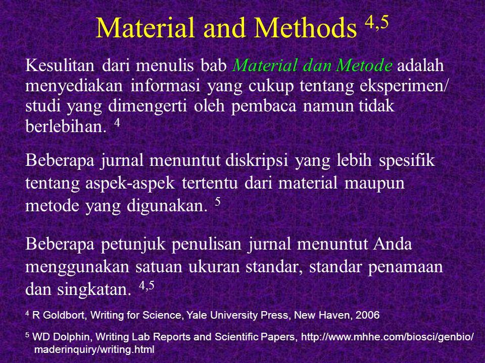 Material and Methods 4,5 Beberapa jurnal menuntut diskripsi yang lebih spesifik tentang aspek-aspek tertentu dari material maupun metode yang digunaka