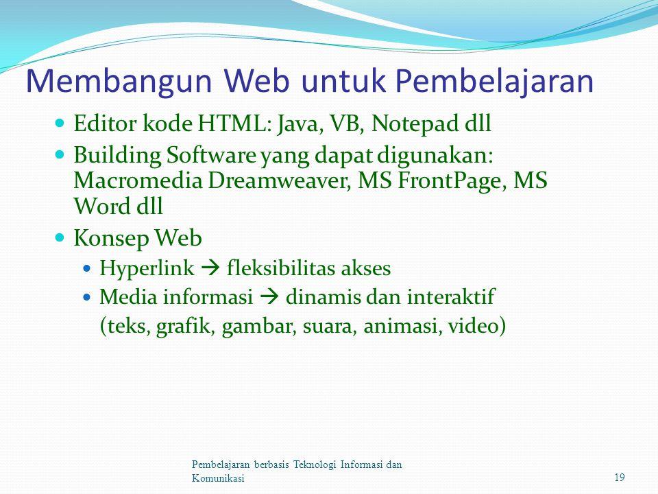 Membangun Web untuk Pembelajaran Editor kode HTML: Java, VB, Notepad dll Building Software yang dapat digunakan: Macromedia Dreamweaver, MS FrontPage, MS Word dll Konsep Web Hyperlink  fleksibilitas akses Media informasi  dinamis dan interaktif (teks, grafik, gambar, suara, animasi, video) Pembelajaran berbasis Teknologi Informasi dan Komunikasi19