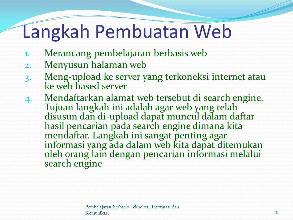 Langkah Pembuatan Web 1. Merancang pembelajaran berbasis web 2.