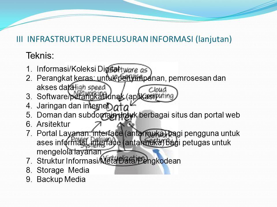 III INFRASTRUKTUR PENELUSURAN INFORMASI (lanjutan) 1.Informasi/Koleksi Digital 2.Perangkat keras: untuk penyimpanan, pemrosesan dan akses data 3.Software/perangkat lunak (aplikasi) 4.Jaringan dan internet 5.Doman dan subdomain untuk berbagai situs dan portal web 6.Arsitektur 7.Portal Layanan: interface (antarmuka) bagi pengguna untuk ases informasi, interface (antarmuka) bagi petugas untuk mengelola layanan 7.Struktur Informasi/Meta Data/Pengkodean 8.Storage Media 9.Backup Media Teknis: