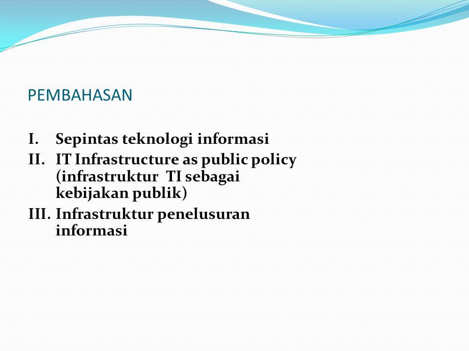 PEMBAHASAN I.Sepintas teknologi informasi II.IT Infrastructure as public policy (infrastruktur TI sebagai kebijakan publik) III.Infrastruktur penelusuran informasi