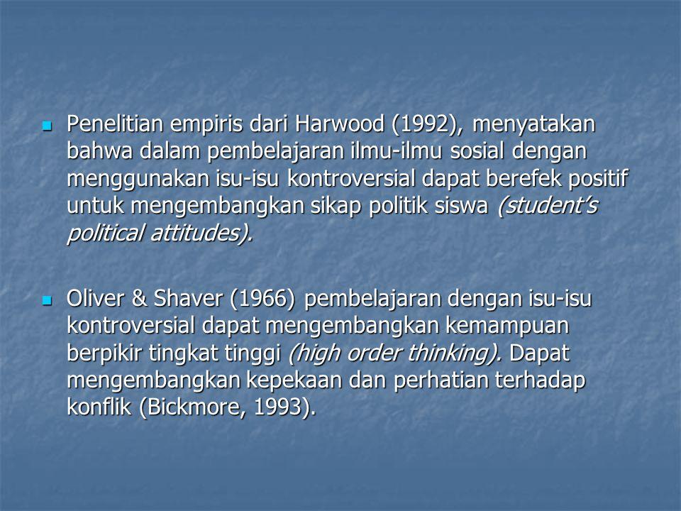 Penelitian empiris dari Harwood (1992), menyatakan bahwa dalam pembelajaran ilmu-ilmu sosial dengan menggunakan isu-isu kontroversial dapat berefek positif untuk mengembangkan sikap politik siswa (student's political attitudes).