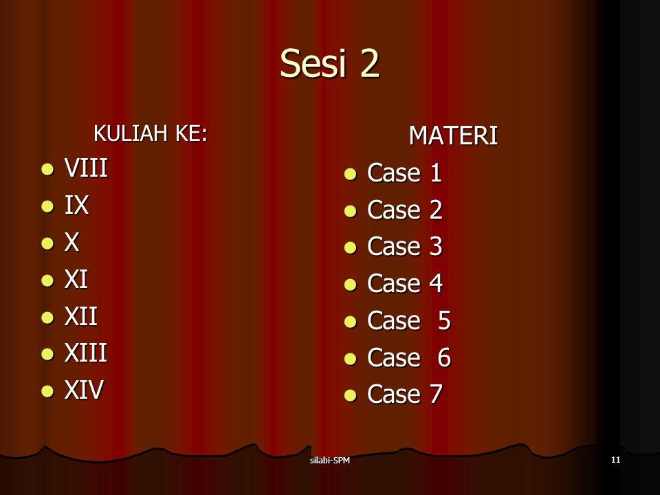 silabi-SPM 11 Sesi 2 KULIAH KE: VIII VIII IX IX X XI XI XII XII XIII XIII XIV XIVMATERI Case 1 Case 1 Case 2 Case 2 Case 3 Case 3 Case 4 Case 4 Case 5