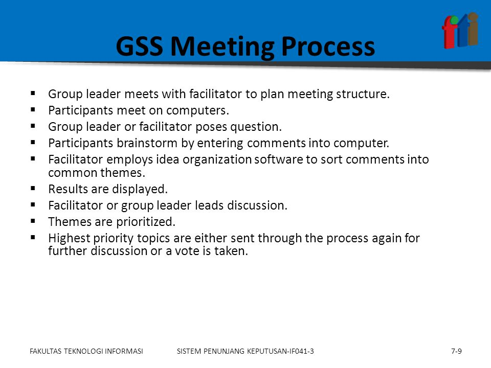GSS Meeting Process  Group leader meets with facilitator to plan meeting structure.