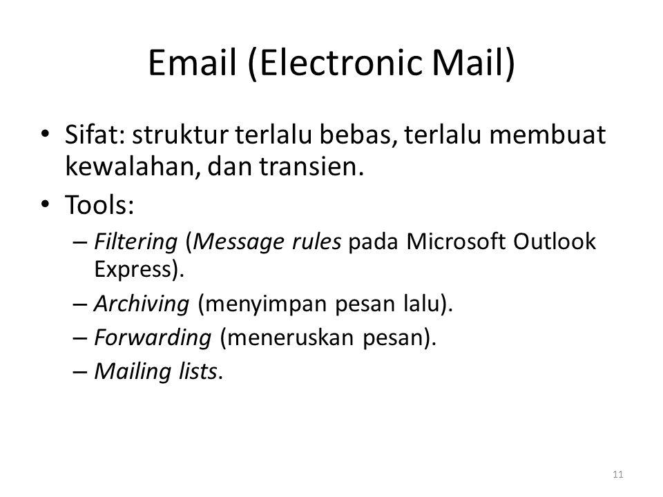 Email (Electronic Mail) Sifat: struktur terlalu bebas, terlalu membuat kewalahan, dan transien.