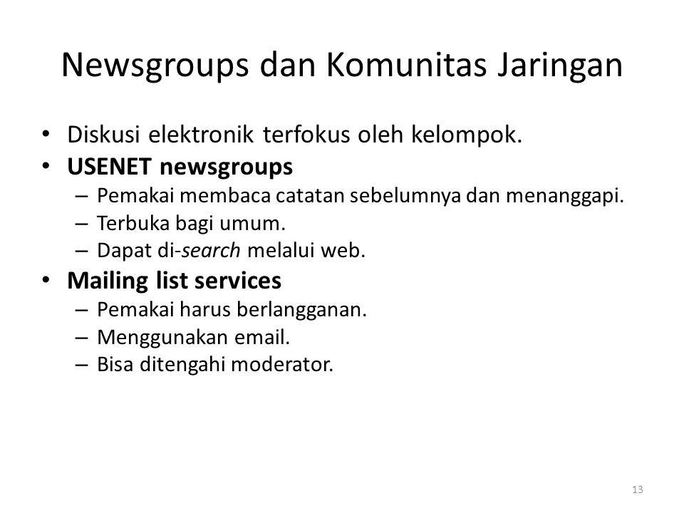 Newsgroups dan Komunitas Jaringan (Lanj.) Online conferences – Mempunyai alat bantu untuk voting, direktori online pemakai dan dokumen.