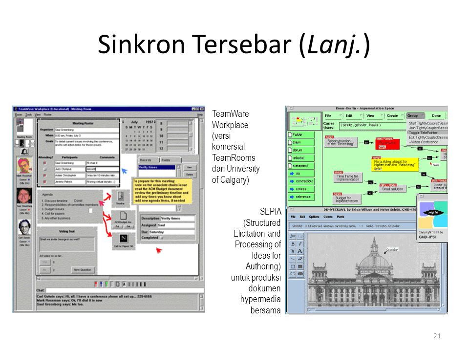 Sinkron Tersebar (Lanj.) TeamWare Workplace (versi komersial TeamRooms dari University of Calgary) SEPIA (Structured Elicitation and Processing of Ideas for Authoring) untuk produksi dokumen hypermedia bersama 21
