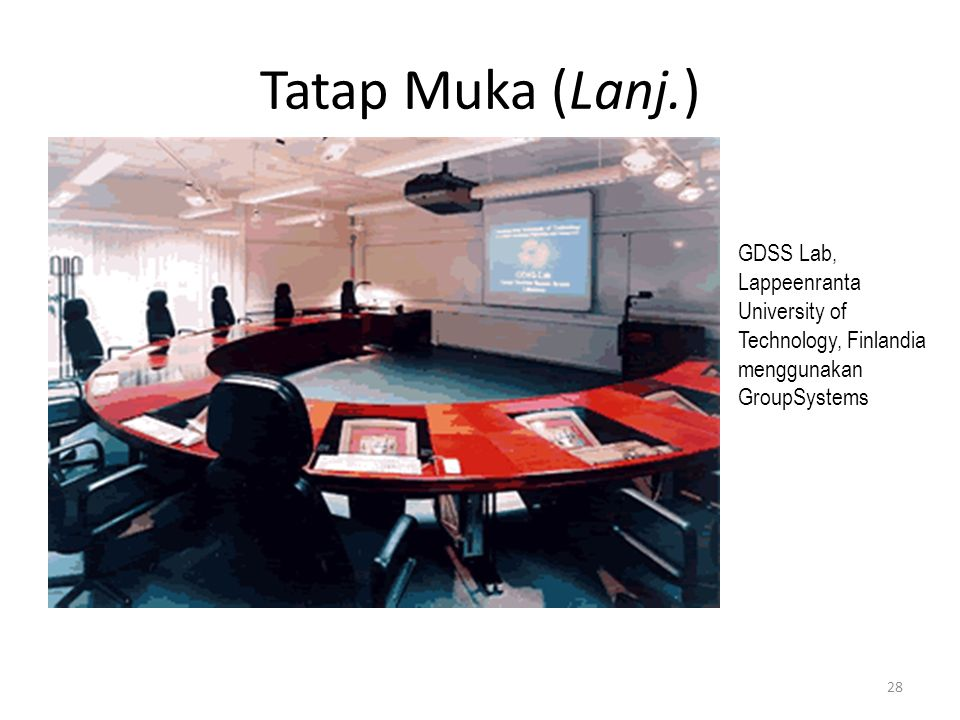 Tatap Muka (Lanj.) GDSS Lab, Lappeenranta University of Technology, Finlandia menggunakan GroupSystems 28