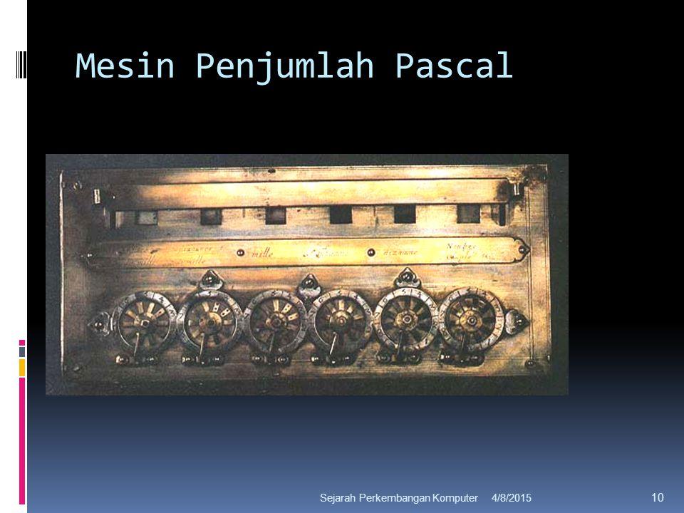 Mesin Penjumlah Pascal 4/8/2015Sejarah Perkembangan Komputer 10
