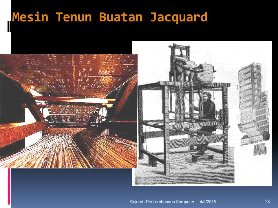 Mesin Tenun Buatan Jacquard 4/8/2015Sejarah Perkembangan Komputer 13