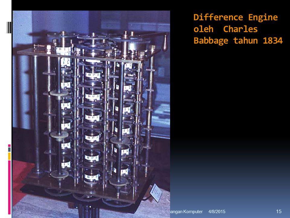 Difference Engine oleh Charles Babbage tahun 1834 4/8/2015Sejarah Perkembangan Komputer 15