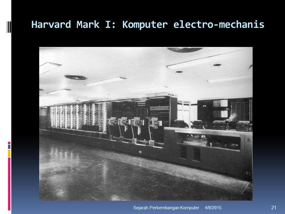 Harvard Mark I: Komputer electro-mechanis 4/8/2015Sejarah Perkembangan Komputer 21