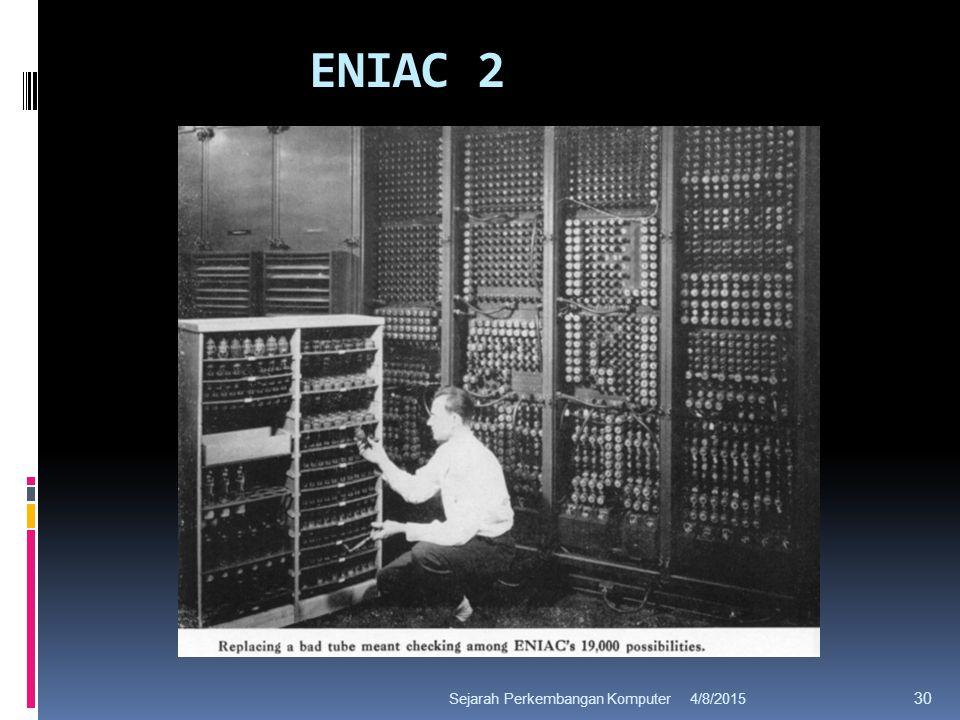 ENIAC 2 4/8/2015Sejarah Perkembangan Komputer 30