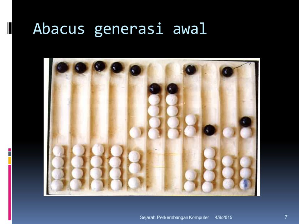 Abacus generasi awal 4/8/2015Sejarah Perkembangan Komputer 7