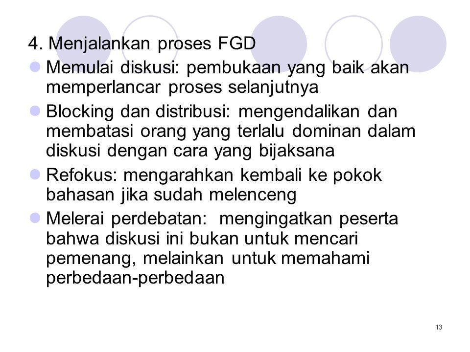13 4. Menjalankan proses FGD Memulai diskusi: pembukaan yang baik akan memperlancar proses selanjutnya Blocking dan distribusi: mengendalikan dan memb