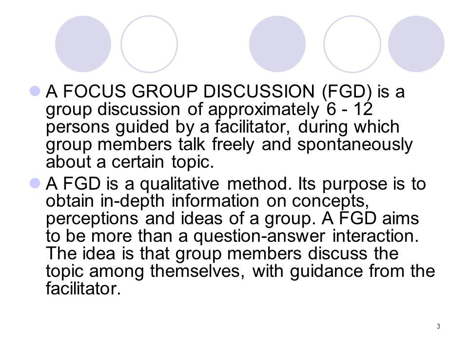 4 Format: peserta (informan) berkumpul di suatu tempat, dan proses pengumpulan data dilakukan melalui diskusi yang diarahkan oleh seorang fasilitator Tugas fasilitator: mengemukakan suatu persoalan, suatu kasus, suatu kejadian sebagai bahan diskusi Diskusi dilakukan untuk memenuhi tujuan yang sudah jelas